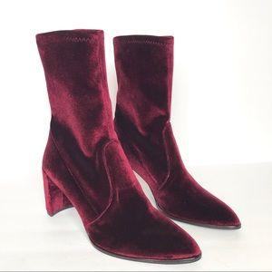 Stuart Weitzman Burgundy Pointed Velvet Boots 10 M
